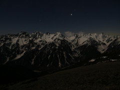 月明かりの槍穂高連峰