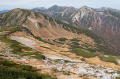 双六岳から北アルプス最深部の峰々