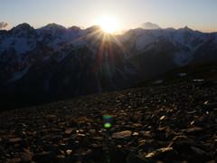 槍穂高連峰に沈む夕陽