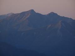 夕照の鹿島槍ヶ岳