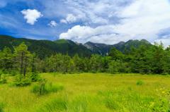 草原と山並み