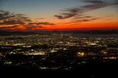 夜景と夕焼け
