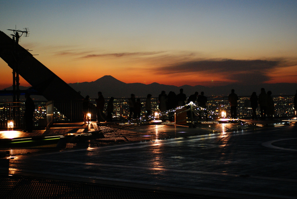 夕闇の富士山