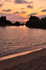 海+夕陽=初めて。