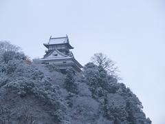 雪の犬山城