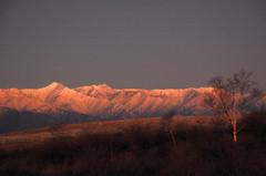 夜明けの北アルプス
