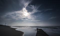 台風余波の海
