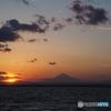 千葉からのサンセット富士