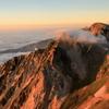 杓子岳 朝陽に輝く