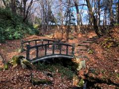 冬の前の可愛い橋の公園