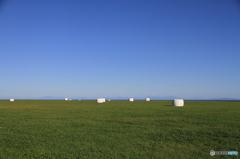 牧場の向こうに千島と知床が