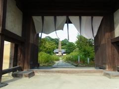 楼門から覗く石宝塔。