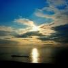 湯野浜温泉郷の夕日