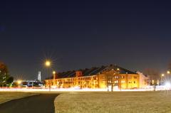 Night red brick warehouse