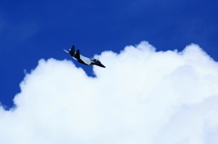 With a blue sky and an airplane !
