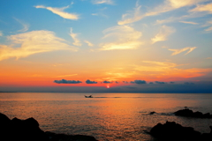 The setting sun of Tanegashima.