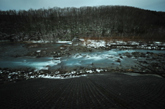Blue river of the early winter