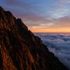夕照の岩稜