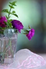 ローズバイオレットの花とピンクのレース