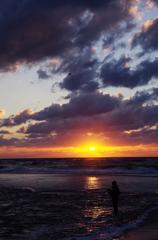 初冬の夕浜景