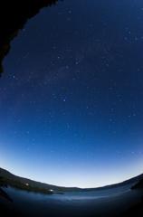月夜の星達 十和田湖にて