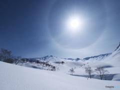 日暈が照らす白い台地