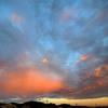 朝焼けに架かる虹