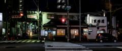 夜の平沼橋商店街と角兵