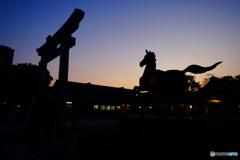 護国神社の落陽