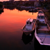 夕焼け松原漁港