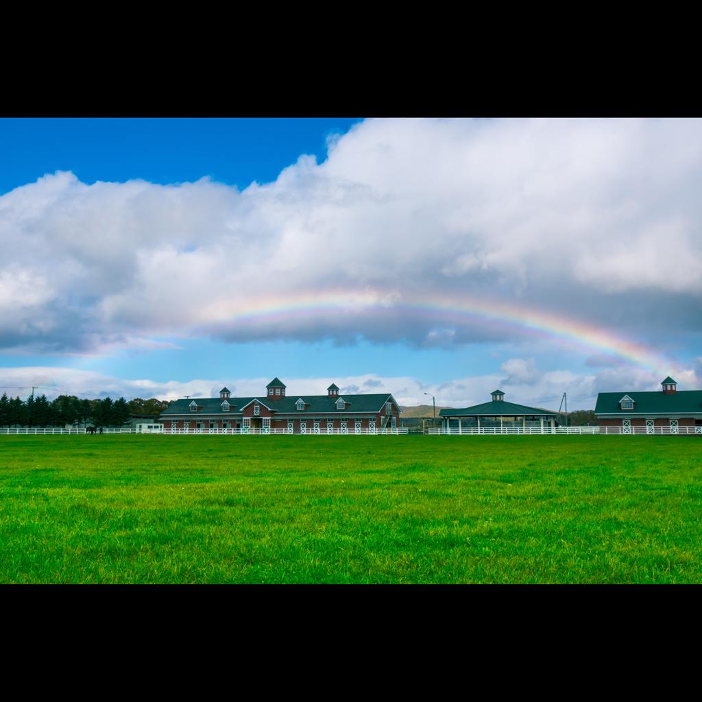 厩舎に架かる虹