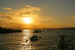 錦江湾の夕暮れ