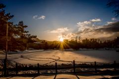 雪沼の夕景