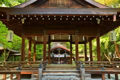 梨木神社拝殿の新緑
