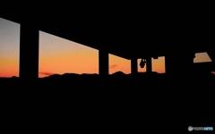 安曇野夕景 (展望台から)