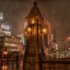 台風の夜の万世橋
