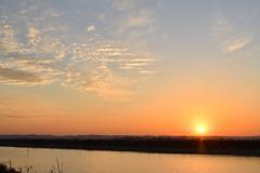 夕日【印旛沼】