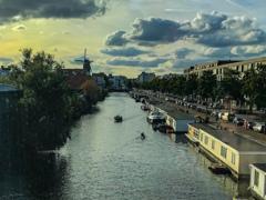運河と風車・ボートハウス@アムステルダム