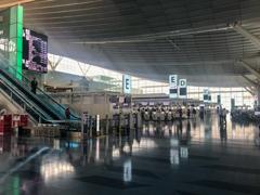コロナ禍の一時帰国 閑散とした羽田空港国際ターミナル出発ロビー