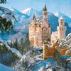 ウィンドウ越しのノイシュヴァンシュタイン城雪景色