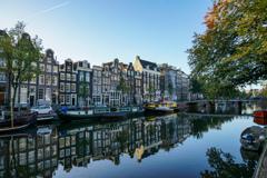 美しき運河の街並とハウスボート@アムステルダム