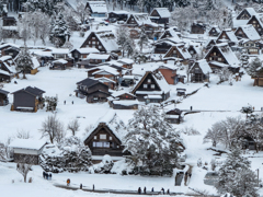 白川郷のお正月 村人少々+観光客大勢