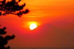 富士山に落ちる夕日 P1140751