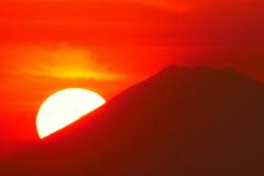 富士山に落ちる夕日 デジタルズーム800mm