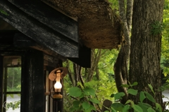 温泉カフェの灯り