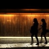 参道を歩く影