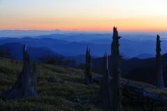 荒涼たる大台ケ原の彼方に富士山のシルエットを臨む