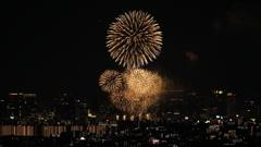 大阪の街に大輪の花火が打ち上げられ