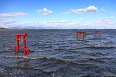 満潮時の海中鳥居