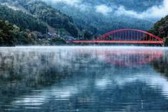 金砂湖 ドット 湖霧